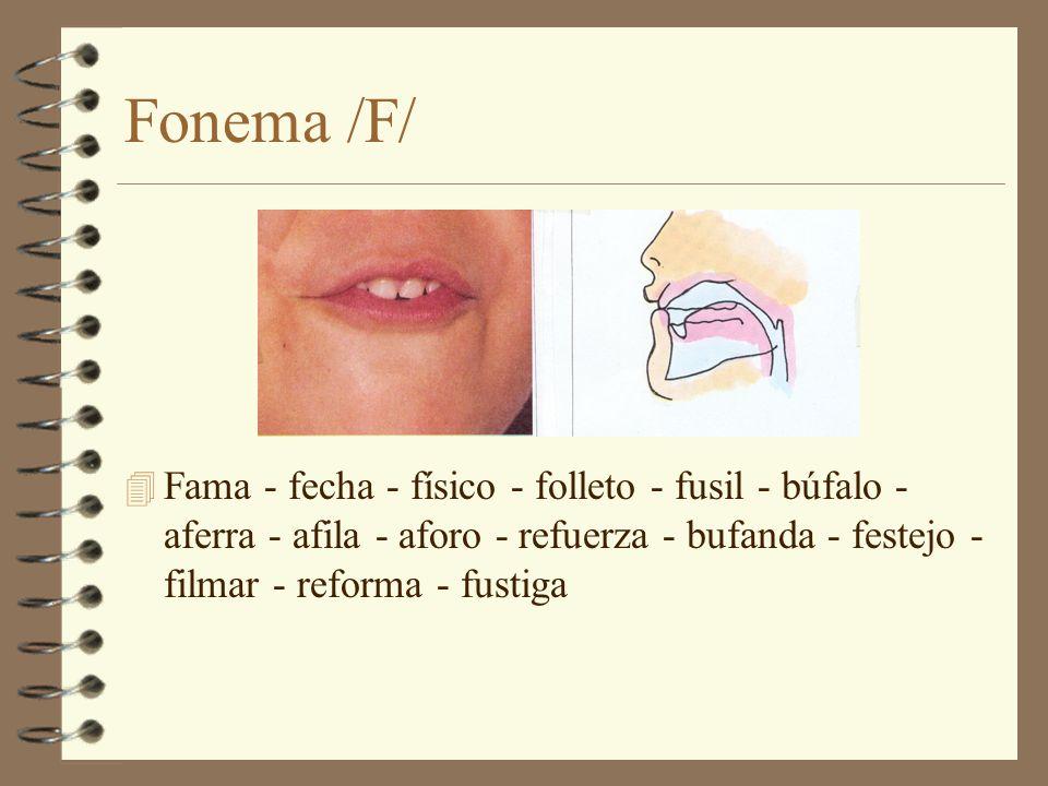 Fonema /F/ 4 Fama - fecha - físico - folleto - fusil - búfalo - aferra - afila - aforo - refuerza - bufanda - festejo - filmar - reforma - fustiga