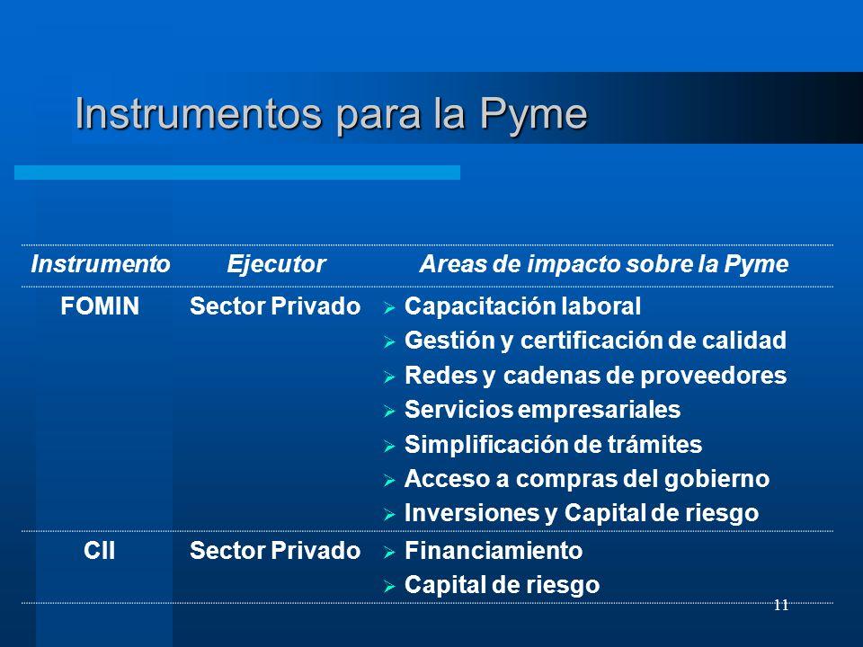11 Instrumentos para la Pyme InstrumentoEjecutorAreas de impacto sobre la Pyme FOMINSector Privado Capacitación laboral Gestión y certificación de cal