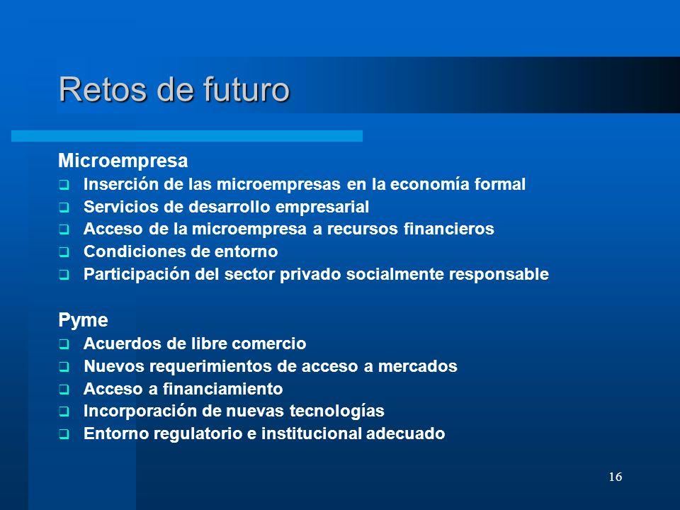 16 Retos de futuro Microempresa Inserción de las microempresas en la economía formal Servicios de desarrollo empresarial Acceso de la microempresa a r