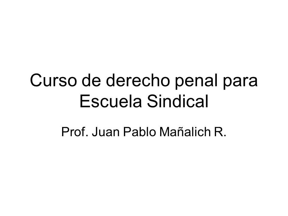 Curso de derecho penal para Escuela Sindical Prof. Juan Pablo Mañalich R.