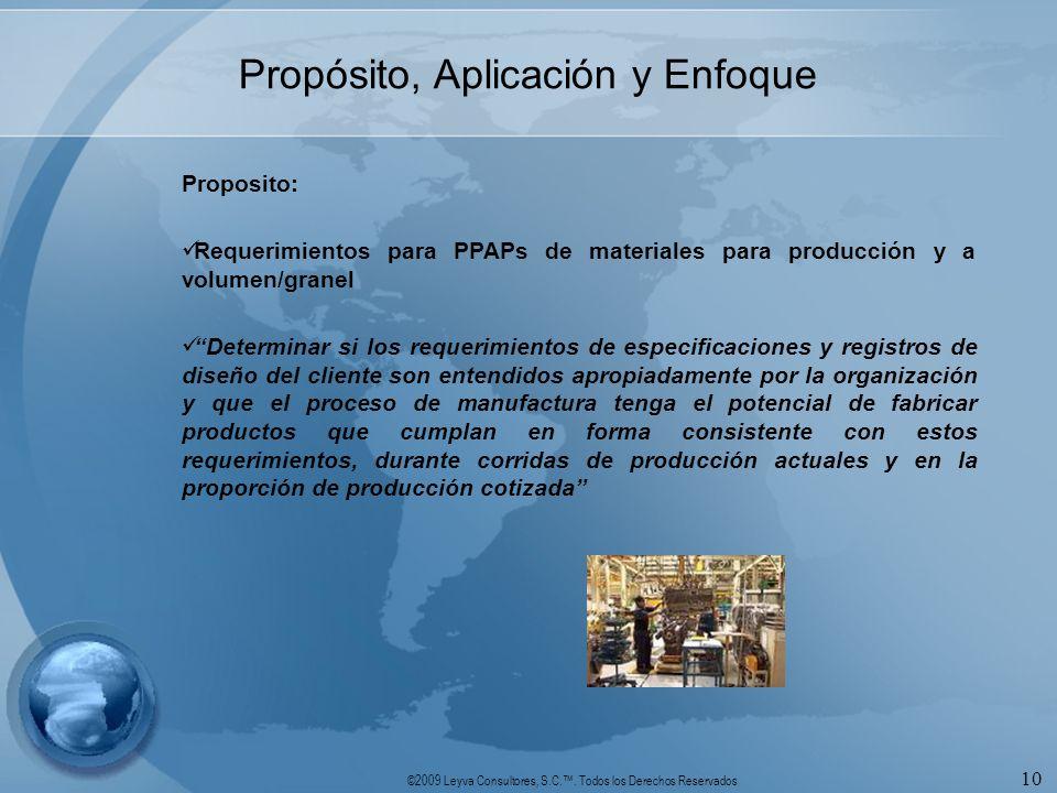 ©2009 Leyva Consultores, S.C.. Todos los Derechos Reservados 10 Propósito, Aplicación y Enfoque Proposito: Requerimientos para PPAPs de materiales par