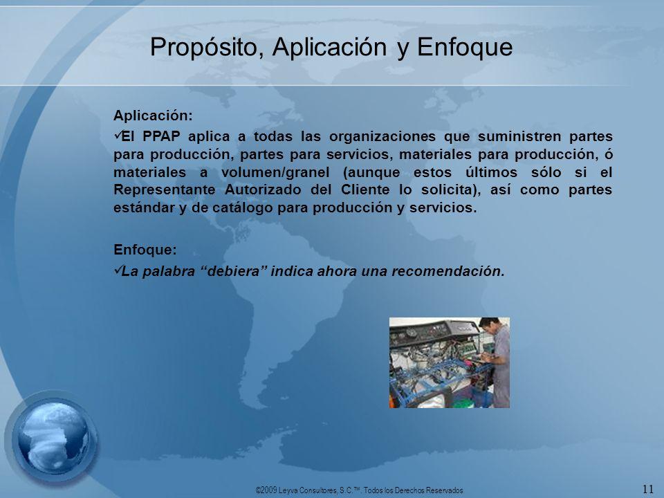 ©2009 Leyva Consultores, S.C.. Todos los Derechos Reservados 11 Propósito, Aplicación y Enfoque Aplicación: El PPAP aplica a todas las organizaciones