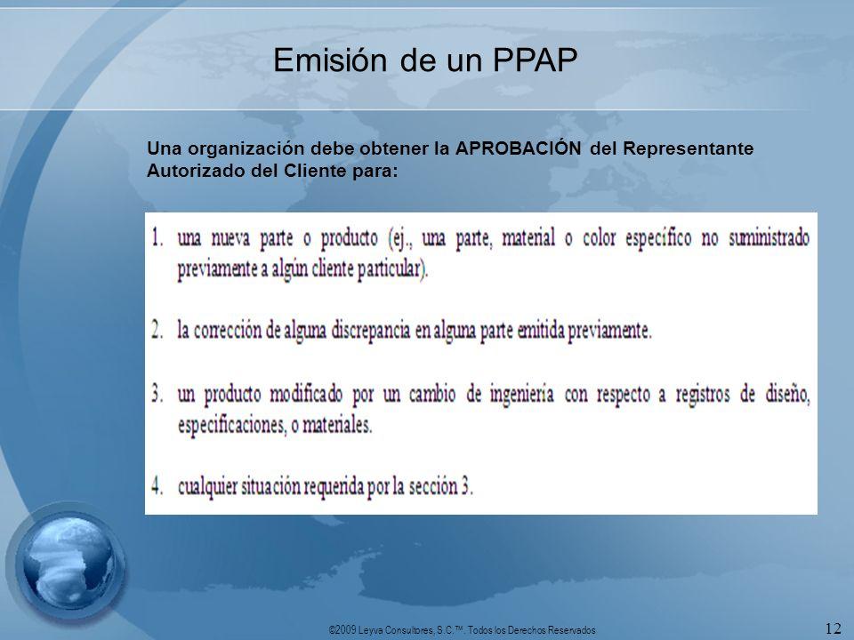©2009 Leyva Consultores, S.C.. Todos los Derechos Reservados 12 Emisión de un PPAP Una organización debe obtener la APROBACIÓN del Representante Autor
