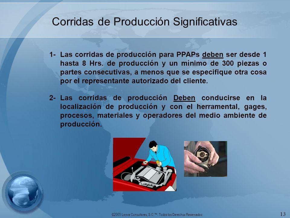 ©2009 Leyva Consultores, S.C.. Todos los Derechos Reservados 13 Corridas de Producción Significativas 1-Las corridas de producción para PPAPs deben se