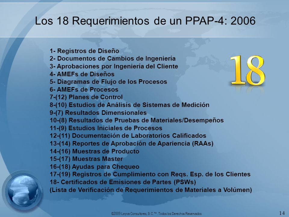 ©2009 Leyva Consultores, S.C.. Todos los Derechos Reservados 14 Los 18 Requerimientos de un PPAP-4: 2006 1- Registros de Diseño 2- Documentos de Cambi