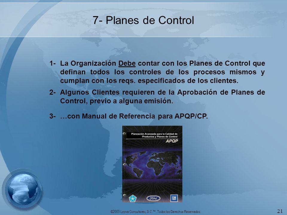 ©2009 Leyva Consultores, S.C.. Todos los Derechos Reservados 21 7- Planes de Control 1-La Organización Debe contar con los Planes de Control que defin
