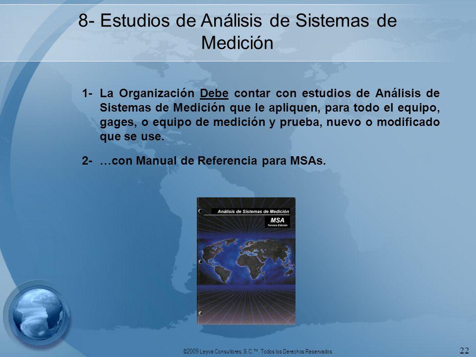 ©2009 Leyva Consultores, S.C.. Todos los Derechos Reservados 22 8- Estudios de Análisis de Sistemas de Medición 1-La Organización Debe contar con estu