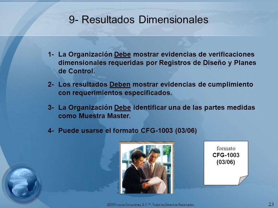 ©2009 Leyva Consultores, S.C.. Todos los Derechos Reservados 23 9- Resultados Dimensionales 1-La Organización Debe mostrar evidencias de verificacione