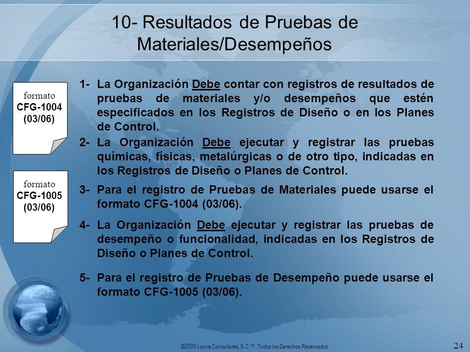 ©2009 Leyva Consultores, S.C.. Todos los Derechos Reservados 24 10- Resultados de Pruebas de Materiales/Desempeños 1-La Organización Debe contar con r