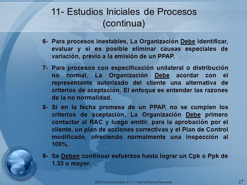 ©2009 Leyva Consultores, S.C.. Todos los Derechos Reservados 27 11- Estudios Iniciales de Procesos (continua) 6-Para procesos inestables, La Organizac