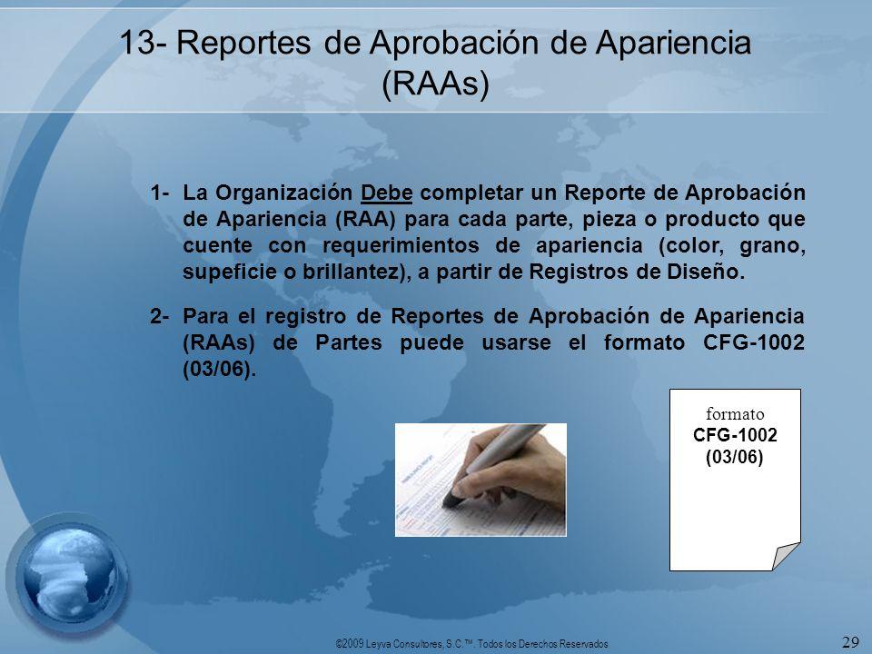 ©2009 Leyva Consultores, S.C.. Todos los Derechos Reservados 29 13- Reportes de Aprobación de Apariencia (RAAs) 1-La Organización Debe completar un Re