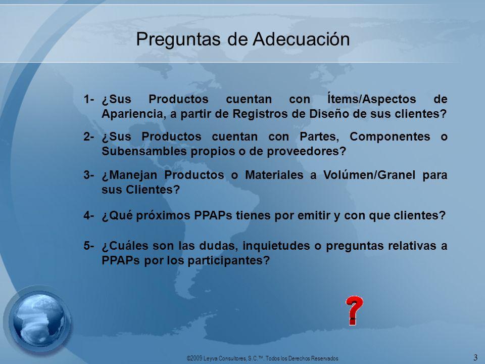 ©2009 Leyva Consultores, S.C.. Todos los Derechos Reservados 3 Preguntas de Adecuación 1-¿Sus Productos cuentan con Ítems/Aspectos de Apariencia, a pa