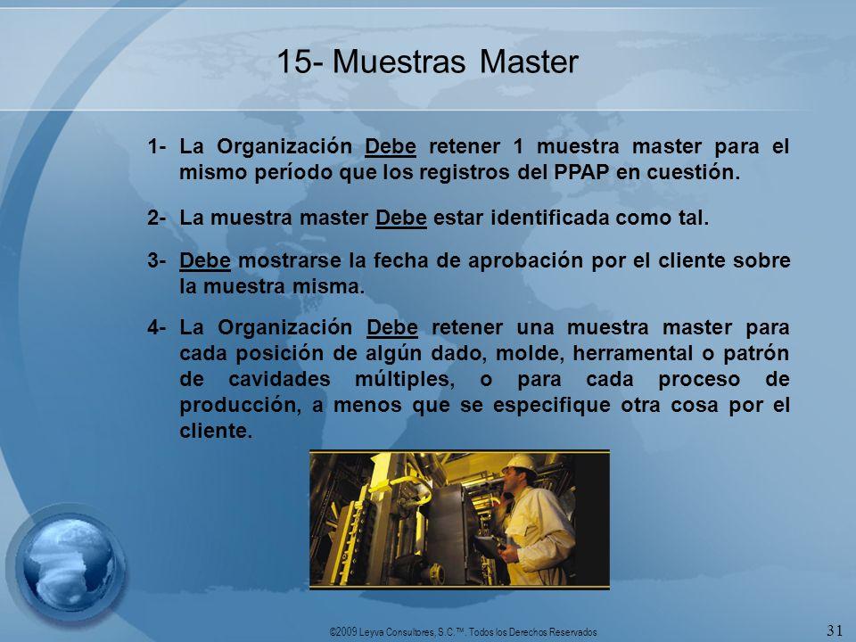 ©2009 Leyva Consultores, S.C.. Todos los Derechos Reservados 31 15- Muestras Master 1-La Organización Debe retener 1 muestra master para el mismo perí