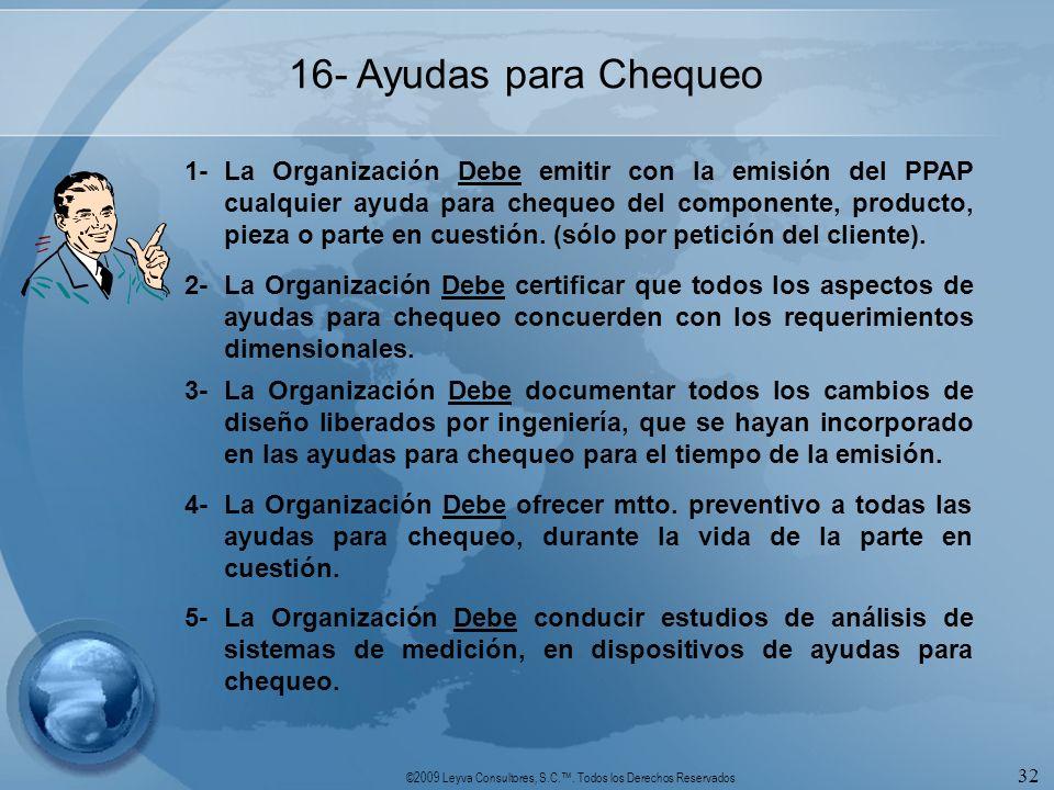 ©2009 Leyva Consultores, S.C.. Todos los Derechos Reservados 32 16- Ayudas para Chequeo 1-La Organización Debe emitir con la emisión del PPAP cualquie