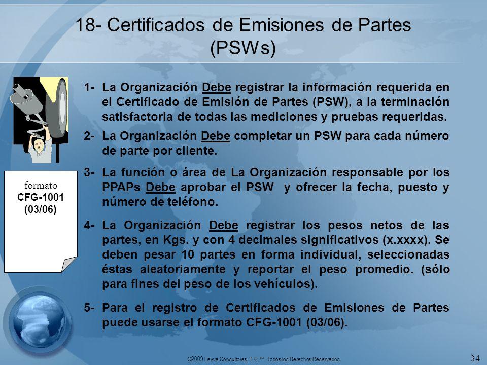 ©2009 Leyva Consultores, S.C.. Todos los Derechos Reservados 34 18- Certificados de Emisiones de Partes (PSWs) 1-La Organización Debe registrar la inf