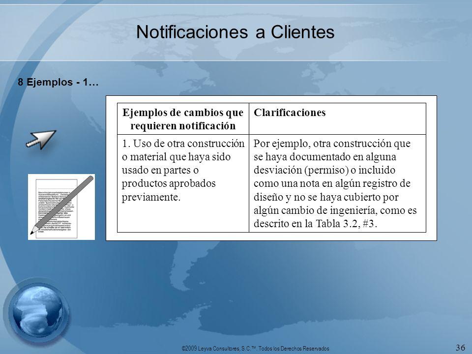 ©2009 Leyva Consultores, S.C.. Todos los Derechos Reservados 36 Notificaciones a Clientes 8 Ejemplos - 1… Por ejemplo, otra construcción que se haya d