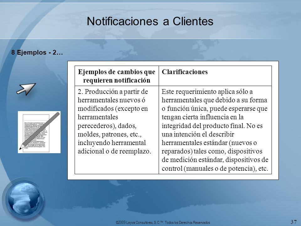 ©2009 Leyva Consultores, S.C.. Todos los Derechos Reservados 37 Notificaciones a Clientes 8 Ejemplos - 2… Este requerimiento aplica sólo a herramental