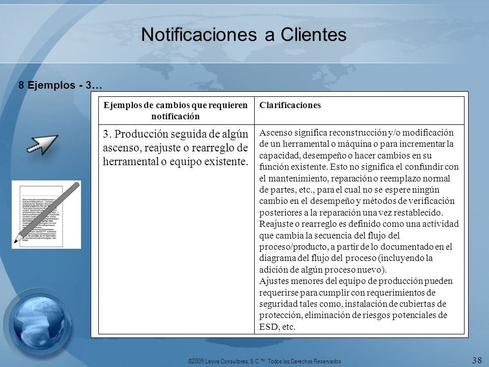 ©2009 Leyva Consultores, S.C.. Todos los Derechos Reservados 38 Notificaciones a Clientes 8 Ejemplos - 3… Ascenso significa reconstrucción y/o modific