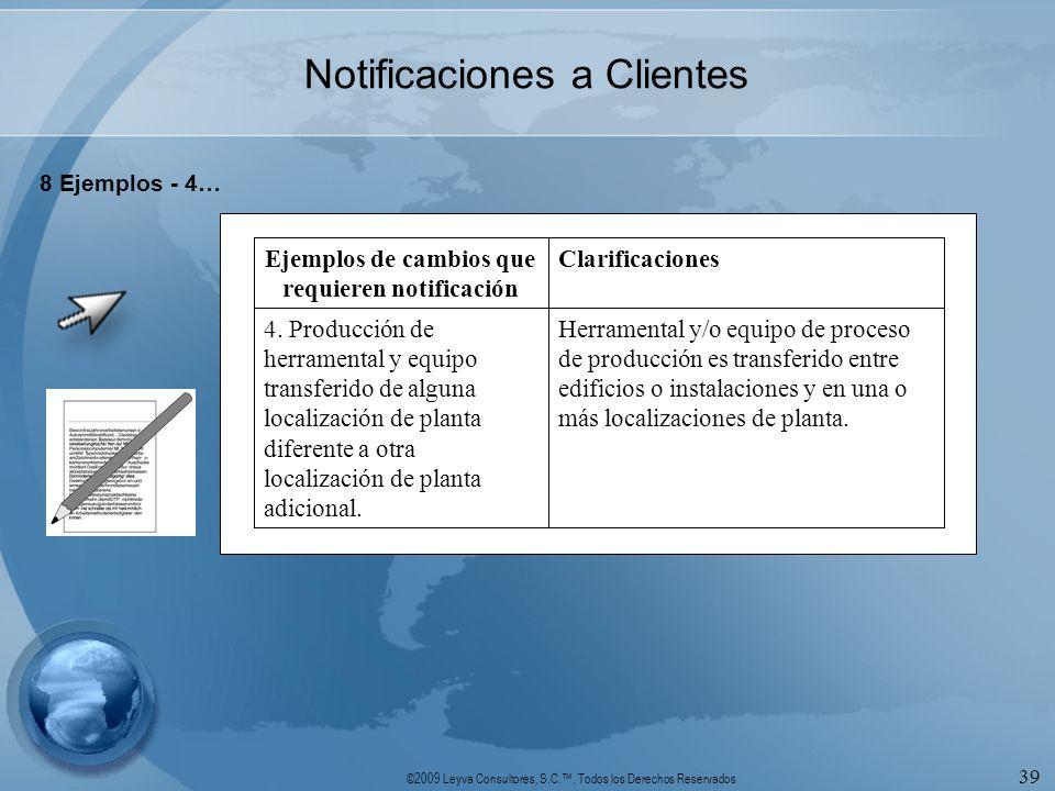 ©2009 Leyva Consultores, S.C.. Todos los Derechos Reservados 39 Notificaciones a Clientes 8 Ejemplos - 4… Herramental y/o equipo de proceso de producc