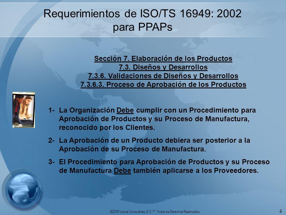 ©2009 Leyva Consultores, S.C.. Todos los Derechos Reservados 4 Requerimientos de ISO/TS 16949: 2002 para PPAPs Sección 7. Elaboración de los Productos