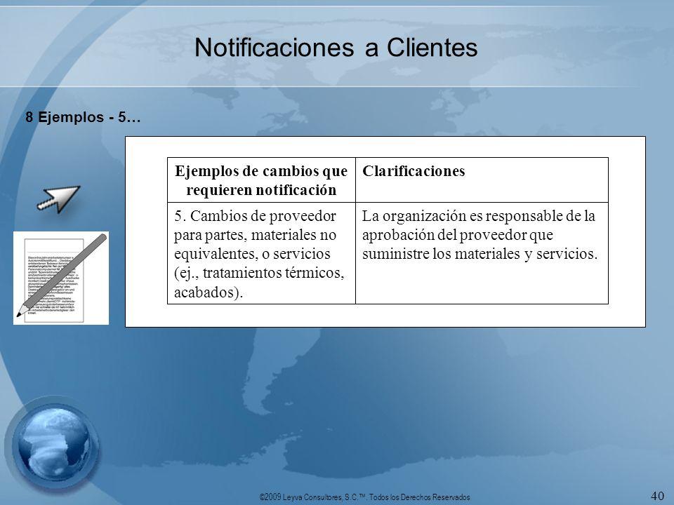 ©2009 Leyva Consultores, S.C.. Todos los Derechos Reservados 40 Notificaciones a Clientes 8 Ejemplos - 5… La organización es responsable de la aprobac