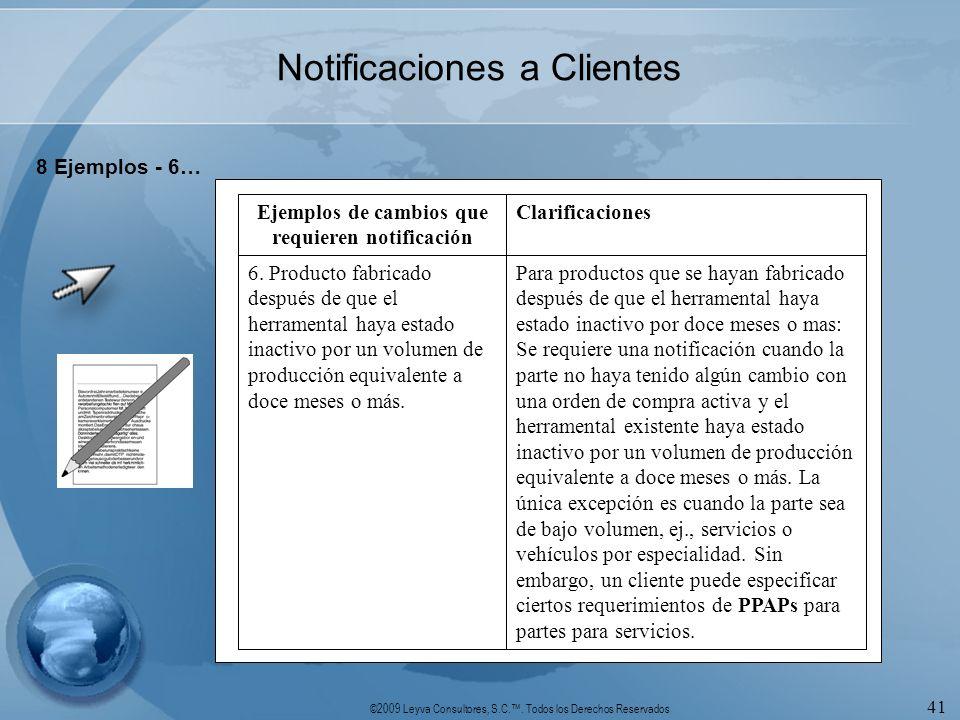 ©2009 Leyva Consultores, S.C.. Todos los Derechos Reservados 41 Notificaciones a Clientes 8 Ejemplos - 6… Para productos que se hayan fabricado despué