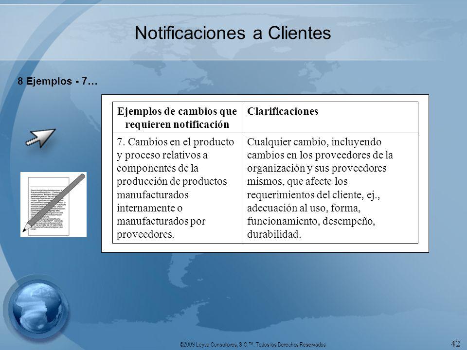 ©2009 Leyva Consultores, S.C.. Todos los Derechos Reservados 42 Notificaciones a Clientes 8 Ejemplos - 7… Cualquier cambio, incluyendo cambios en los