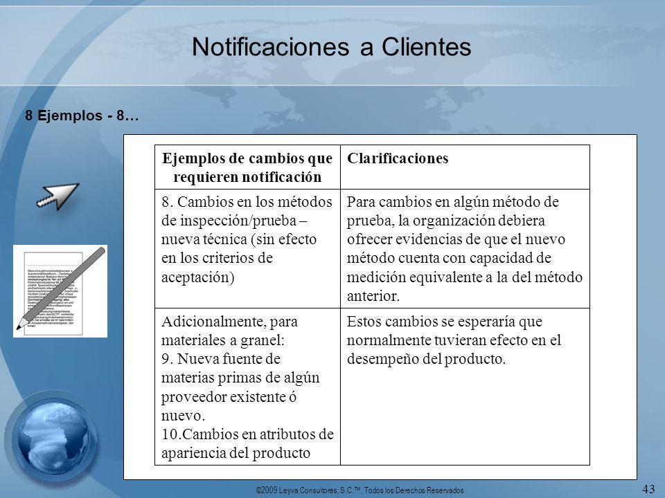 ©2009 Leyva Consultores, S.C.. Todos los Derechos Reservados 43 Notificaciones a Clientes 8 Ejemplos - 8… Estos cambios se esperaría que normalmente t