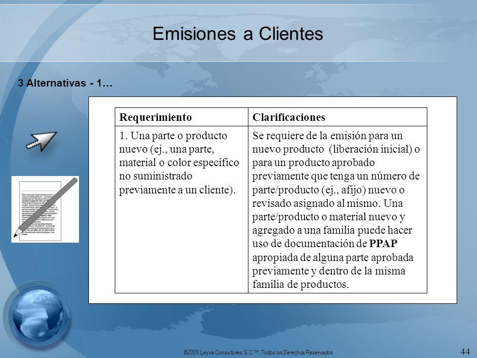©2009 Leyva Consultores, S.C.. Todos los Derechos Reservados 44 Emisiones a Clientes 3 Alternativas - 1… Se requiere de la emisión para un nuevo produ