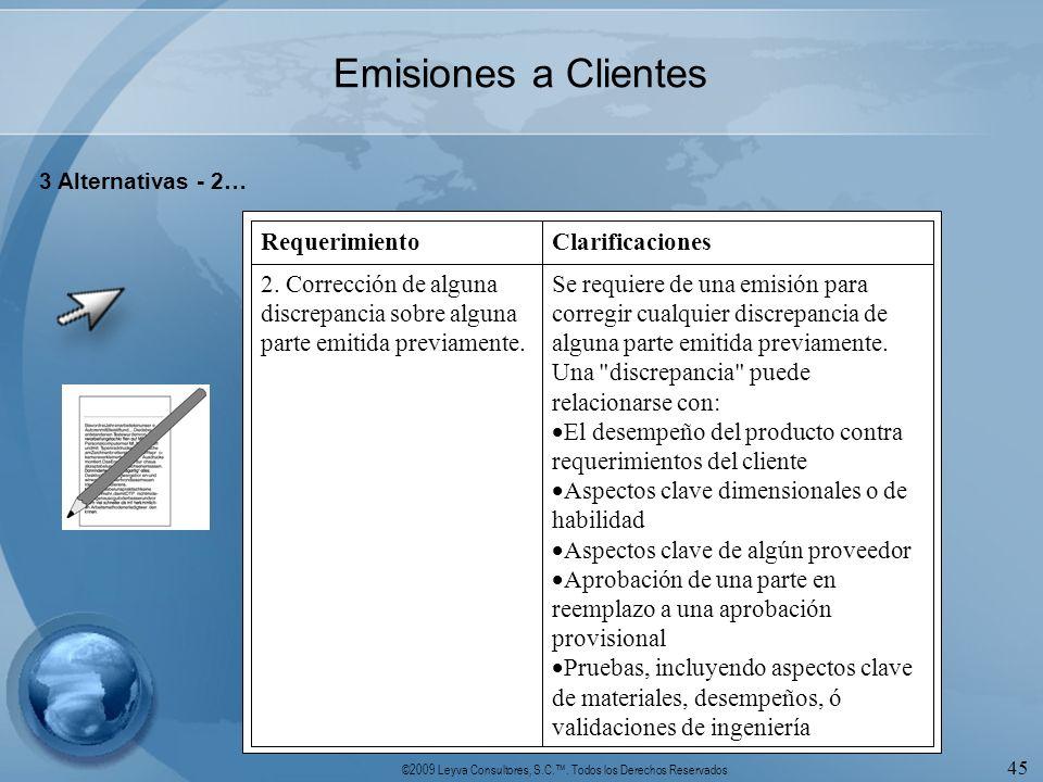 ©2009 Leyva Consultores, S.C.. Todos los Derechos Reservados 45 Emisiones a Clientes 3 Alternativas - 2… Se requiere de una emisión para corregir cual