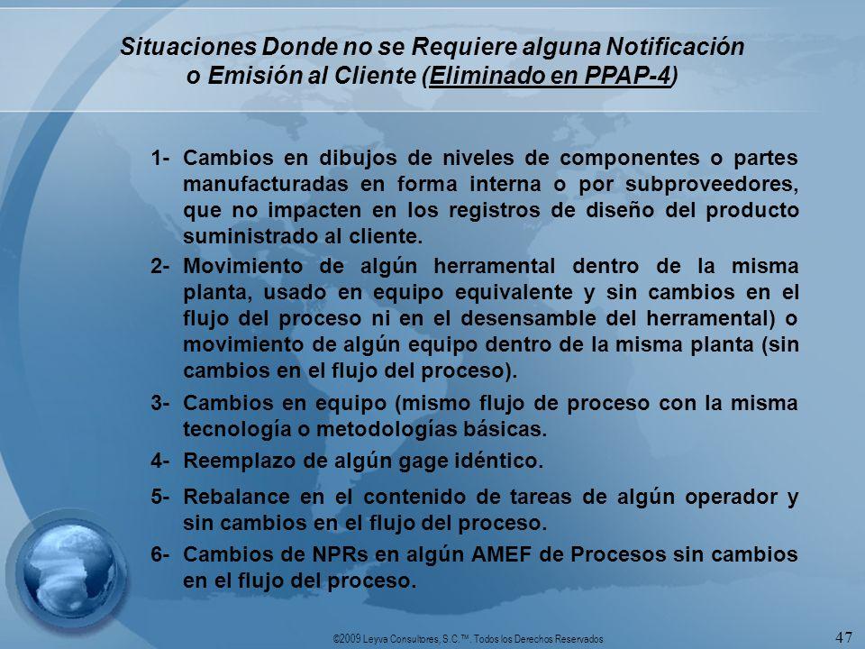 ©2009 Leyva Consultores, S.C.. Todos los Derechos Reservados 47 Situaciones Donde no se Requiere alguna Notificación o Emisión al Cliente (Eliminado e