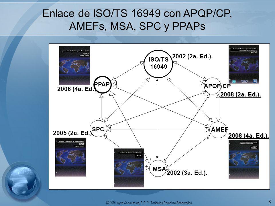 ©2009 Leyva Consultores, S.C.. Todos los Derechos Reservados 5 Enlace de ISO/TS 16949 con APQP/CP, AMEFs, MSA, SPC y PPAPs SPC MSA ISO/TS 16949 PPAP A