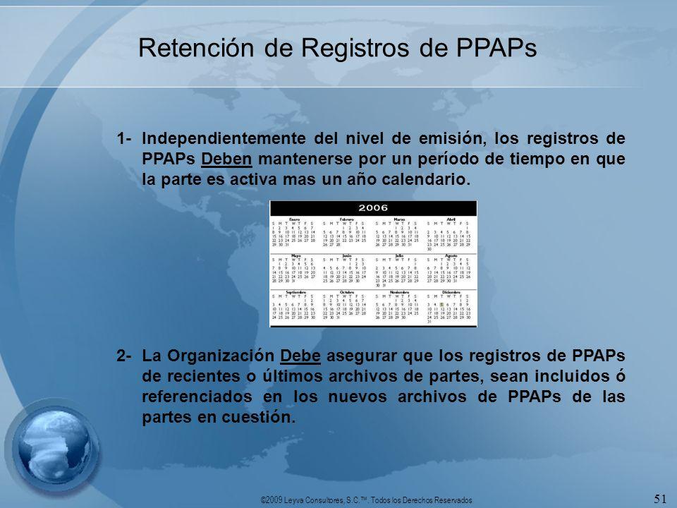 ©2009 Leyva Consultores, S.C.. Todos los Derechos Reservados 51 Retención de Registros de PPAPs 1-Independientemente del nivel de emisión, los registr