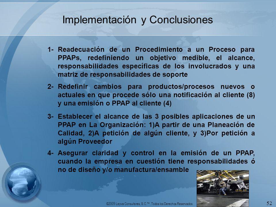 ©2009 Leyva Consultores, S.C.. Todos los Derechos Reservados 52 1-Readecuación de un Procedimiento a un Proceso para PPAPs, redefiniendo un objetivo m