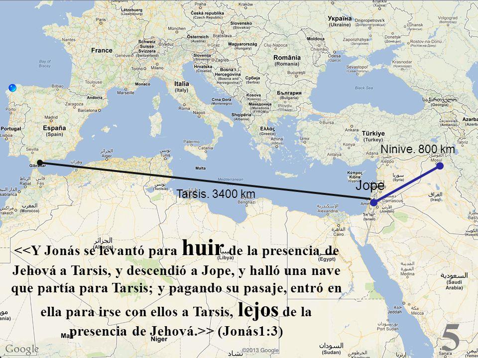 5 > (Jonás1:3) Tarsis. 3400 km Ninive. 800 km Jope
