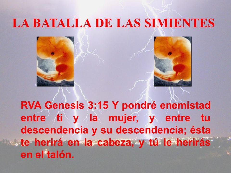 LA BATALLA DE LAS SIMIENTES RVA Genesis 3:15 Y pondré enemistad entre ti y la mujer, y entre tu descendencia y su descendencia; ésta te herirá en la cabeza, y tú le herirás en el talón.