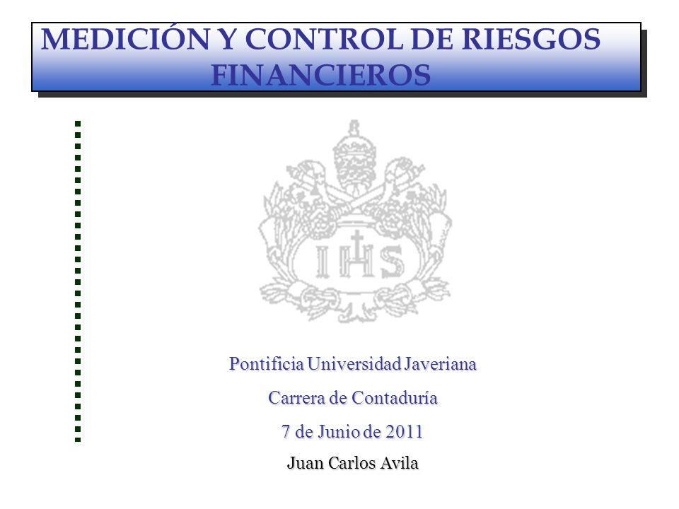 ALMACENAMIENTO MEDICIÓN Y CONTROL DE RIESGOS FINANCIEROS Pontificia Universidad Javeriana Carrera de Contaduría 7 de Junio de 2011 Juan Carlos Avila