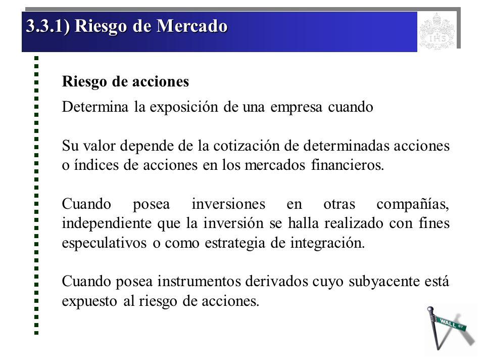 3.3.1) Riesgo de Mercado 3.3.1) Riesgo de Mercado 3.3.1) Riesgo de Mercado 3.3.1) Riesgo de Mercado Riesgo de acciones Determina la exposición de una