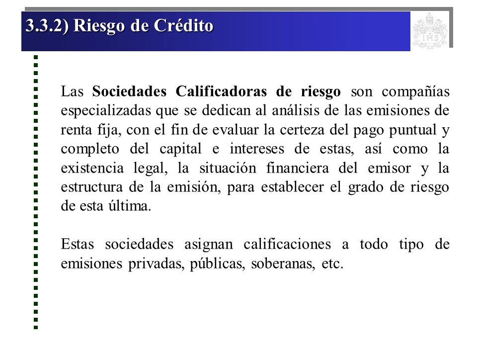 3.3.2) Riesgo de Crédito 3.3.2) Riesgo de Crédito 3.3.2) Riesgo de Crédito 3.3.2) Riesgo de Crédito Las Sociedades Calificadoras de riesgo son compañí