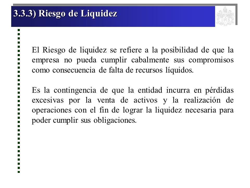 3.3.3) Riesgo de Liquidez 3.3.3) Riesgo de Liquidez 3.3.3) Riesgo de Liquidez 3.3.3) Riesgo de Liquidez El Riesgo de liquidez se refiere a la posibili