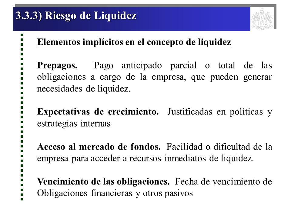 3.3.3) Riesgo de Liquidez 3.3.3) Riesgo de Liquidez 3.3.3) Riesgo de Liquidez 3.3.3) Riesgo de Liquidez Elementos implícitos en el concepto de liquide