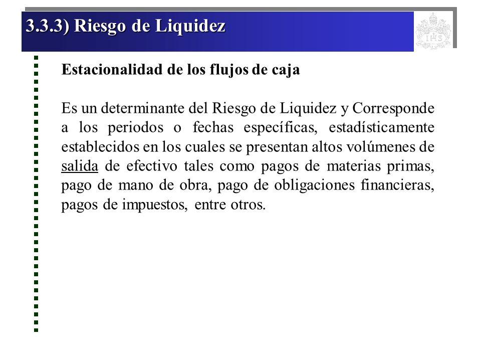 3.3.3) Riesgo de Liquidez 3.3.3) Riesgo de Liquidez 3.3.3) Riesgo de Liquidez 3.3.3) Riesgo de Liquidez Estacionalidad de los flujos de caja Es un det