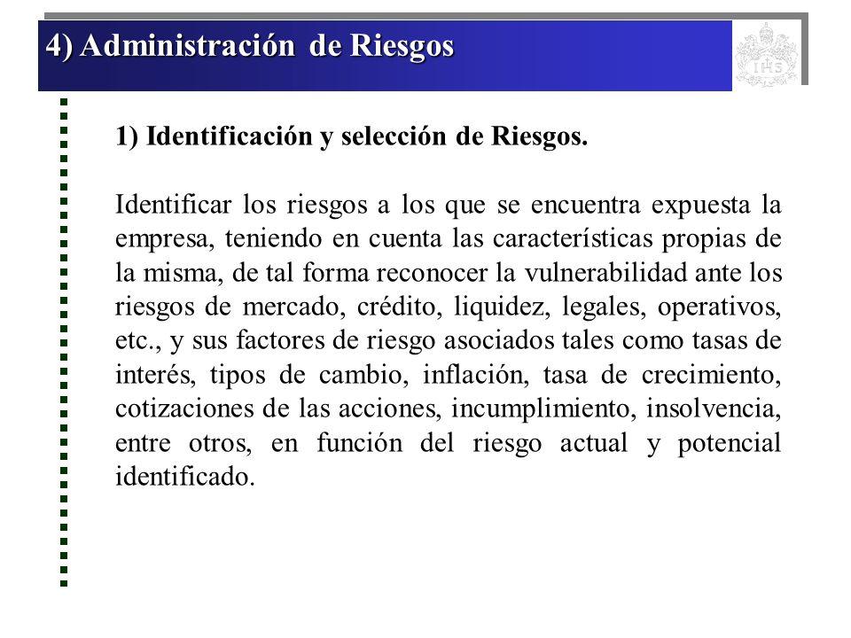 4) Administración de Riesgos 4) Administración de Riesgos 4) Administración de Riesgos 4) Administración de Riesgos 1) Identificación y selección de R