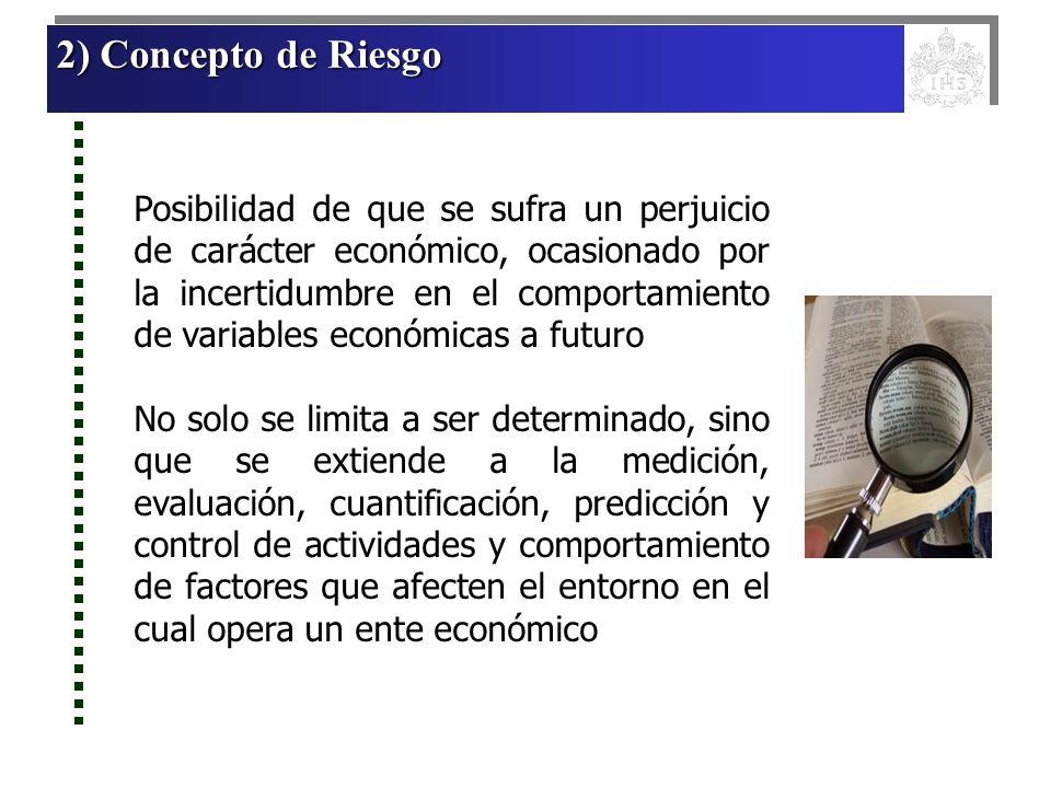 2) Concepto de Riesgo 2) Concepto de Riesgo 2) Concepto de Riesgo 2) Concepto de Riesgo Posibilidad de que se sufra un perjuicio de carácter económico
