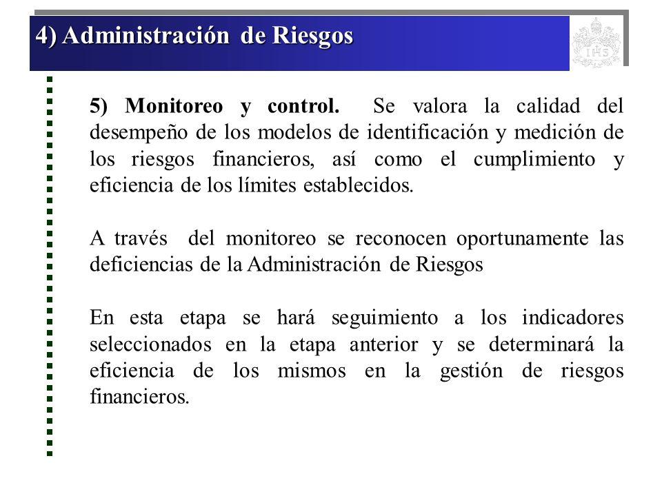 4) Administración de Riesgos 4) Administración de Riesgos 4) Administración de Riesgos 4) Administración de Riesgos 5) Monitoreo y control. Se valora