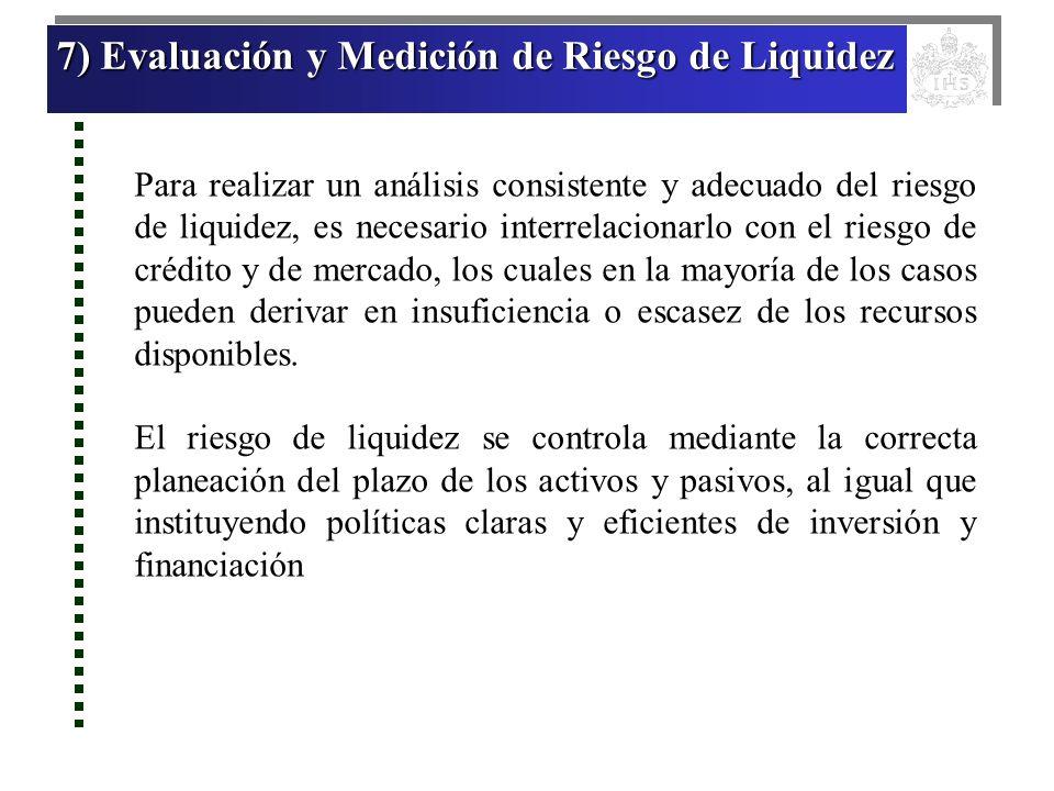 7) Evaluación y Medición de Riesgo de Liquidez 7) Evaluación y Medición de Riesgo de Liquidez 7) Evaluación y Medición de Riesgo de Liquidez 7) Evalua