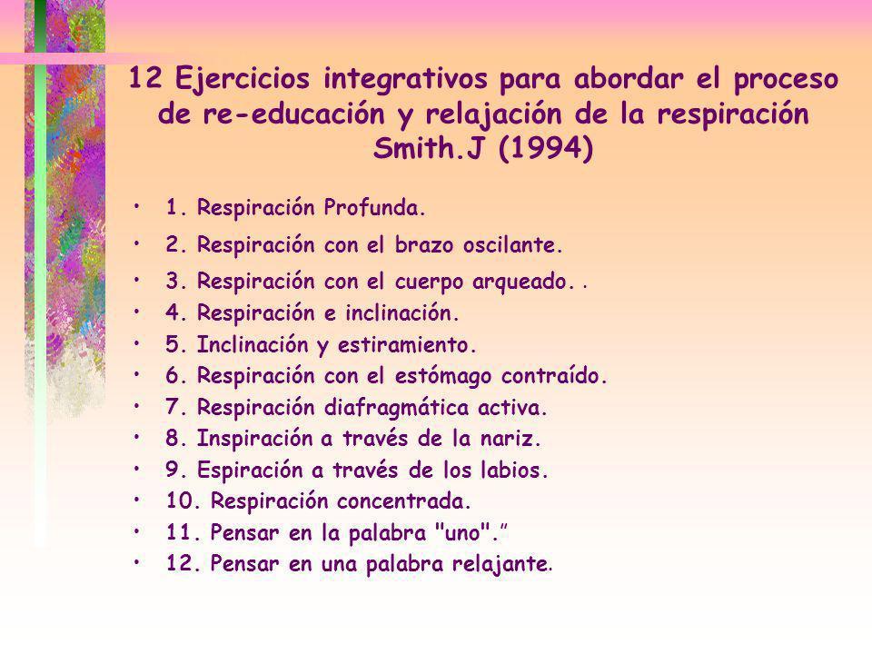 12 Ejercicios integrativos para abordar el proceso de re-educación y relajación de la respiración Smith.J (1994) 1. Respiración Profunda. 2. Respiraci
