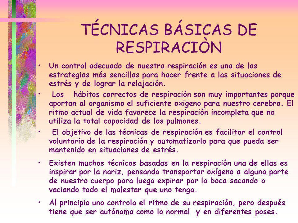 TÉCNICAS BÁSICAS DE RESPIRACIÒN Un control adecuado de nuestra respiración es una de las estrategias más sencillas para hacer frente a las situaciones