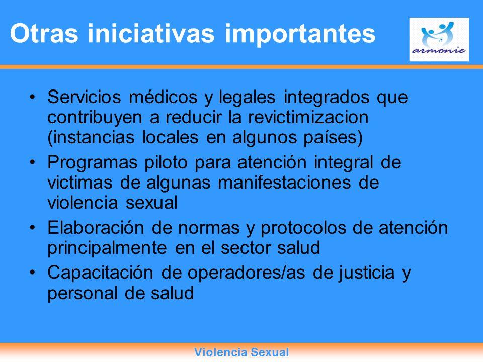 Servicios médicos y legales integrados que contribuyen a reducir la revictimizacion (instancias locales en algunos países) Programas piloto para atenc