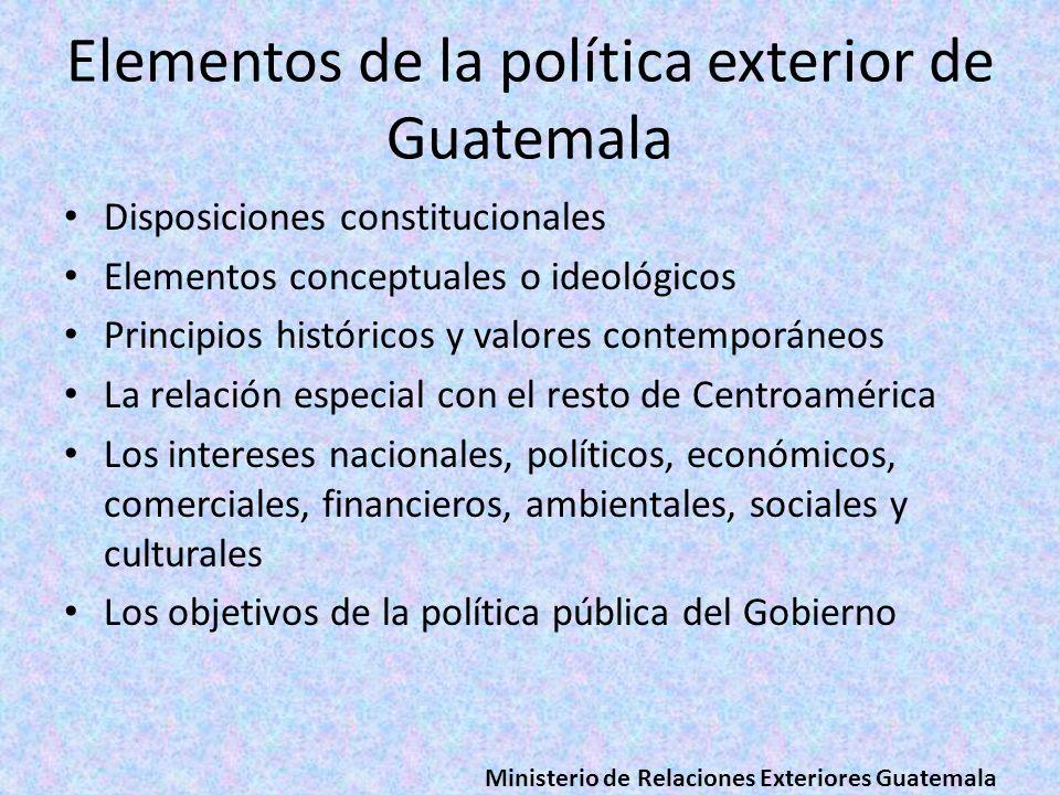 Elementos de la política exterior de Guatemala Disposiciones constitucionales Elementos conceptuales o ideológicos Principios históricos y valores con